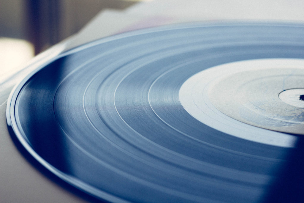 A close up of a record
